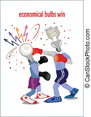 two bulbs conduct a boxing duel.