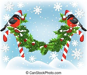 Two bullfinch  sitting on Christmas candy garland