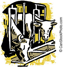 Two bulls eating feed through a barn grill