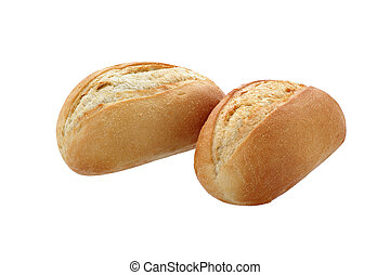 two buns close-up on a white background isolated