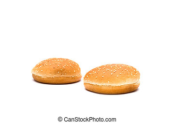 Two buns for a hamburger on a white background