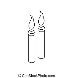 Two burning candles icon, outline style