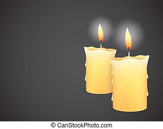 two burning candles on black background