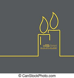 Two burning candles with a bright flame on a dark background. Outline. minimal.