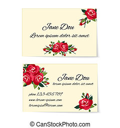 Two business card templates with red roses