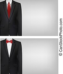 Two business cards with suits. Vector.