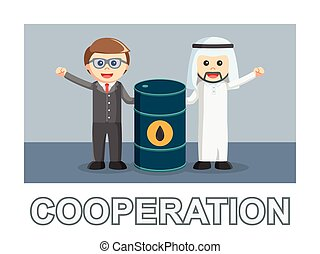 Two business cooperation photo text style