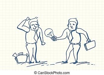 Two Business Man Doodle Holding Light Bulb New Idea Concept