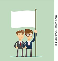 two business man holding a flag.