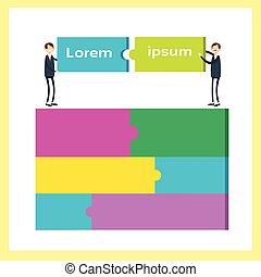 Two Business Man Match Puzzle Parts, Teamwork Success