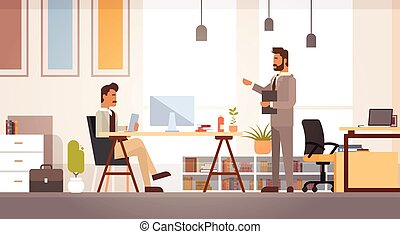 Two Business Man Meeting Discussing Office Desk Businesspeople Working