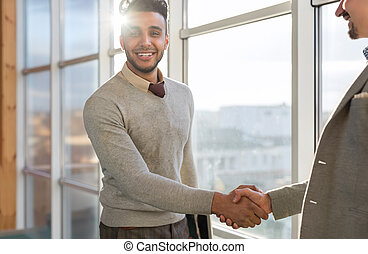 Two Business Man Shake Hand Agreement Coworking Center...