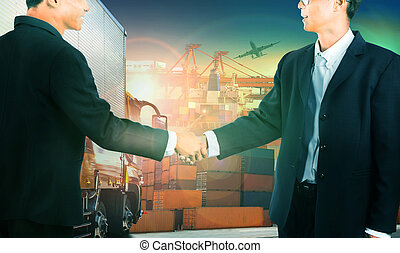 two business man shaking hand against container truck in shipping port ,container dock and freight cargo plane flying above use for transportation and logistic indutry