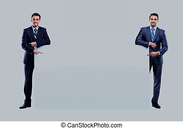 two business man showing blank banner on white background