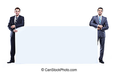 two business man showing blank signboard, isolated over white background