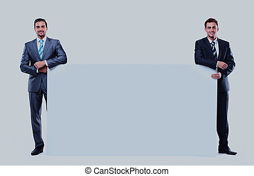 two business man showing blank signboard, isolated over white background.