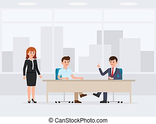Two business man sitting at the office table cartoon character
