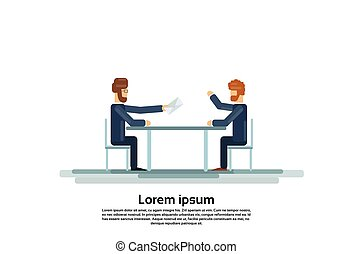Two Business Man Talking Discussing Give Envelope Mail Document Communication Sitting at Office Desk