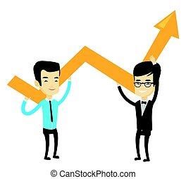 Two business men holding growth graph.