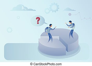 Two Business Men On Pie Diagram Getting Inequality Shares, Businessmen Competition Success Concept
