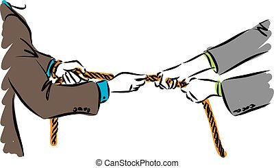 two business men pulling rope vector illustration