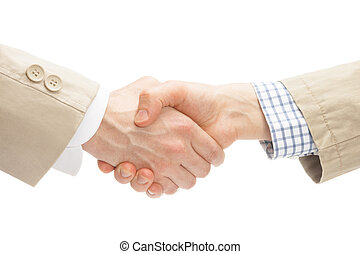 Two business men shaking hands - close up studio shot