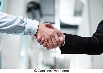 Two business partners shake their hands
