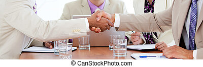 Two business people closing a deal in a meeting