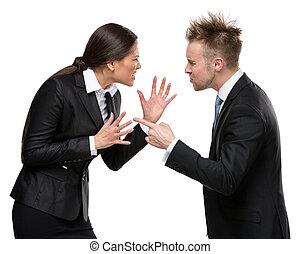Two business people debate