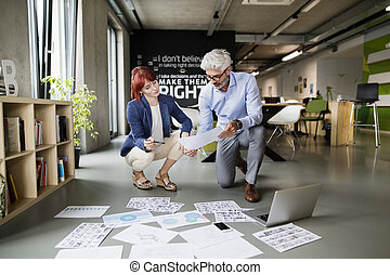 Two business people in the office consulting a project together.