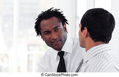 Two Business people interacting with each other