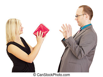 Two business people throwing a gift