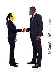 business people with mask handshaking