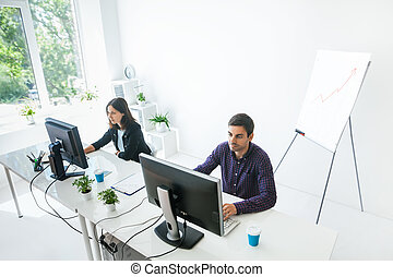Two business people working on computer in the office