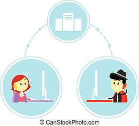 Two Business People Working Remotely in Front of Their Computer (in Flat Cartoon Style)