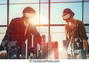 persons are developing a project - two business persons are...