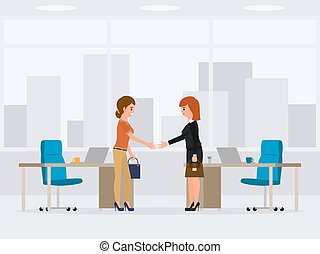 Two business woman are making deal cartoon character