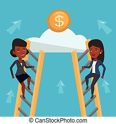 Two business woman competing for the money.