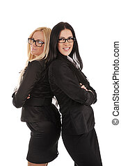 Two business woman standing back-to-back over white background