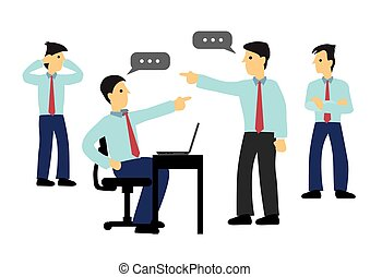 Two Businessman arguing in the office. Concept of workplace bully or office politics.