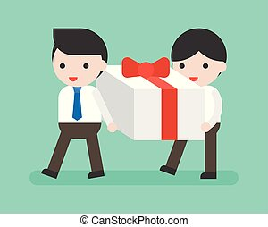 Two Businessman carrying big present box, business...