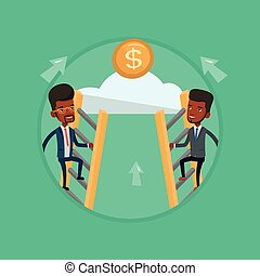 Two businessman climbing to success.