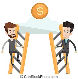 Two businessman competing for the money.