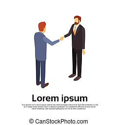 Two Businessman Hand Shake, Business Man Handshake Agreement Concept 3d Isometric