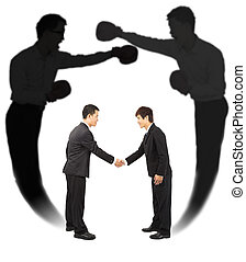 Two businessman handshake with fighting shadow