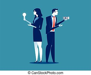Two businessman holding money and ideas. Concept business vector illustration.