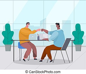 Two businessman make a touch with their hands in agreement. Good deal, concept of business partnership, conclude success agreement. Colleagues congratulate each other on making the right decision