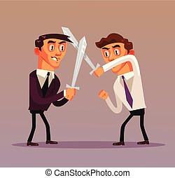 Two businessman office worker characters fighting with swords. Business competitions rivalry battle concept isolated flat cartoon graphic design illustration