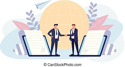 Two businessman people office worker shaking hand and sign contract by electronic signature. Business online concept. Vector flat graphic design isolated illustration