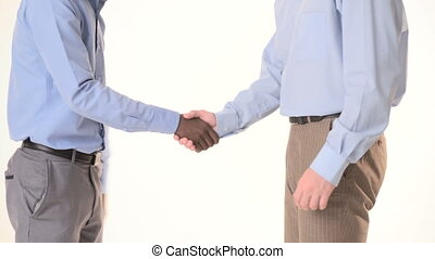 two businessman shaking hands. close-up - two young...